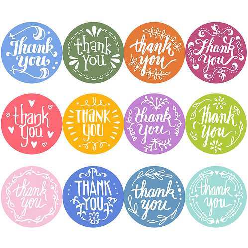 Youngever Thank You Stickers Roll of 1240, 12 Designs 1.5 Inch Thank You Sticker