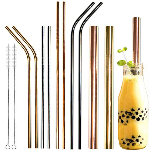Youngever 10 pcs Multicolor Reusable Stainless Steel Straws with 2 Extra Wide