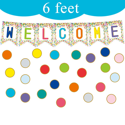Youngever 67 pcs Confetti Pennants Welcome Bulletin Board
