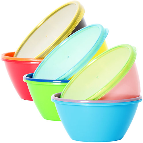 Youngever 12 Ounce Plastic Bowls with Lids, Snack Bowls, Small Bowls
