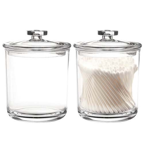 Youngever 2 Pack 15 Ounce Premium Quality Clear Plastic Apothecary Jars