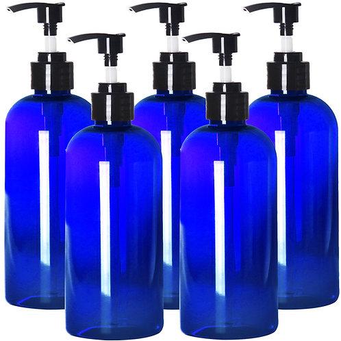 Youngever 5 Pack Blue Plastic Pump Bottles 16 Ounce, Refillable Pump Bottles