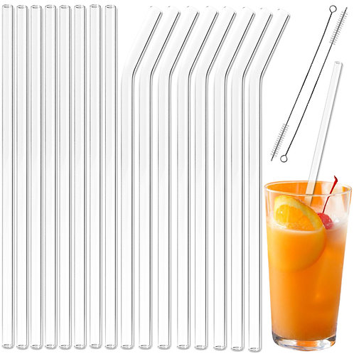 Youngever 16+2 Pack Reusable Glass Straws Assortment, 9 inches x 10 mm