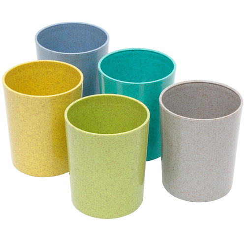 Youngever 10 Ounce Kids Cups, 5 Pack Kids Bamboo Cups in 5 Assorted Colors