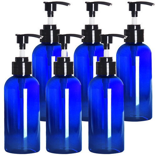Youngever 6 Pack 8oz Blue Plastic Pump Bottles