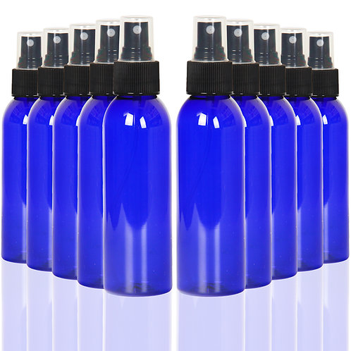Youngever 10 Pack Blue Plastic Spray Bottles 4 Ounce, Refillable Plastic Spray
