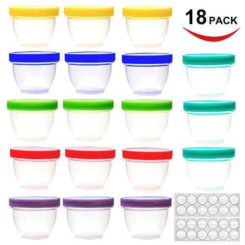 18 Pack Baby Food Storage, 4 oz Baby Food Containers with Lids, 6 Assorted Color
