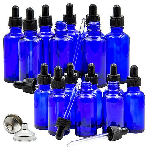 15 Pack 1oz and 2oz Empty Cobalt Blue Glass Dropper Bottles