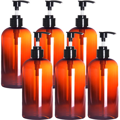 Youngever 6 Pack Amber Plastic Pump Bottles 12 Ounce
