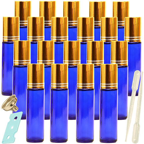 Youngever 20 Pack Blue Essential Oil Roller Bottles with Stainless Steel Roller