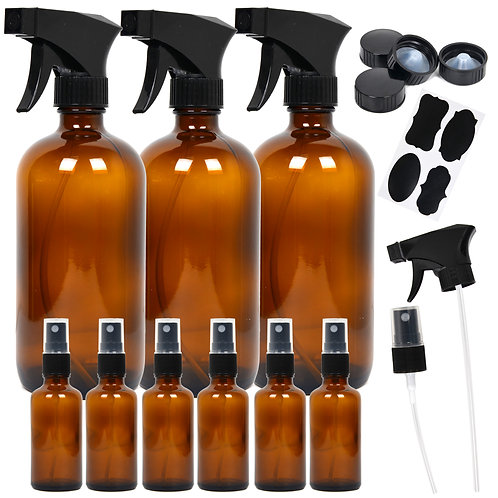 Youngever 9 Pack Empty Amber Glass Spray Bottles, Refillable Containers