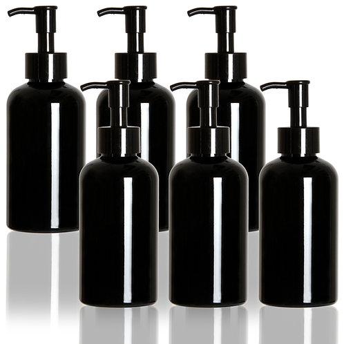Youngever 6 Pack Black Pump Bottles, Refillable Plastic Pump Bottles(8 Ounce)