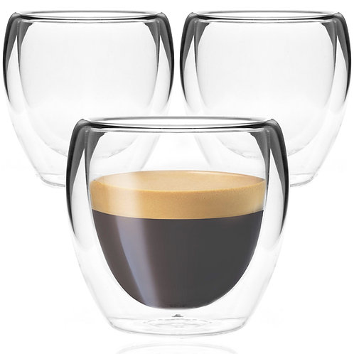Youngever 3 Pack Espresso Cups, Double Wall Thermo Insulated Espresso Cups