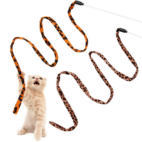 Youngever 2 Pieces Cat Toys Teasing Toy, Interactive Teaser Wand Toy Kitten Cat