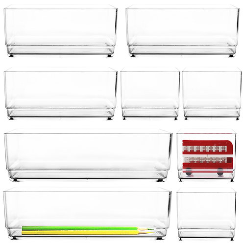 Youngever Premium Quality Clear Plastic Vanity and Desk Drawer Organizers