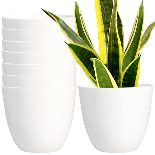 Youngever 7 Pack 6.5 Inch Plastic Planters Indoor Flower Plant Pots