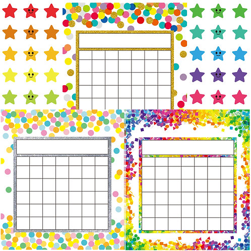 Youngever 81 Pack Classroom Incentive Chart in 3 Designs with 480 Star Stickers