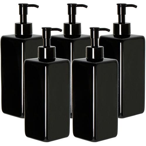 Youngever 5 Pack 16 Ounce Plastic Pump Bottles, Black Square Pump Bottles