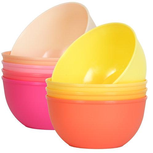 Youngever 9 Pack 10 Ounce Plastic Bowls, Kids Plastic Bowls, 9 Peach Color