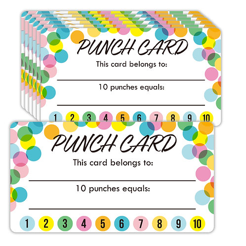 Youngever Punch Cards 180 Pack, Incentive Loyalty Reward Card, Confetti Design