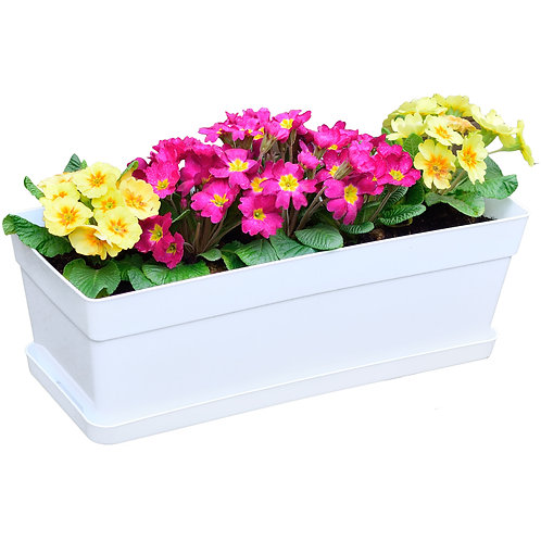 Youngever 3 Pack 15 Inch Plastic Window Box Planter, Flower Box Planter, White
