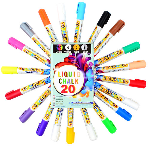 Best 20 Pcs Liquid Chalk Markers Pack - 16 chalk markers neon & 4 chalk markers