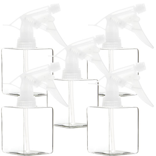 Youngever 5 Pack 12 Ounce Empty Plastic Spray Bottles,Clear Square Spray Bottles