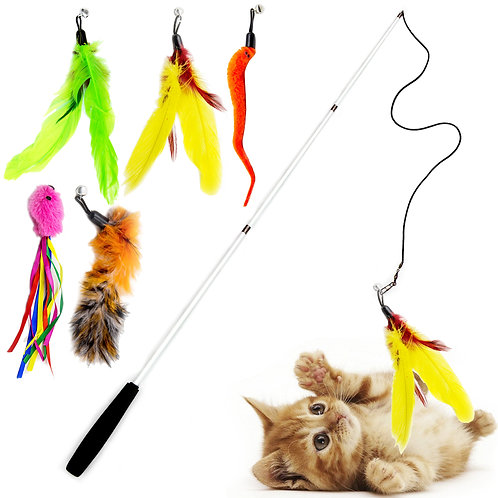 Youngever 6 Pieces Cat Toys Teasing Feather Toy, Retractable Wand with Assorted