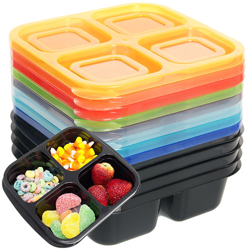 Youngever 8 Pack 4-Compartment Reusable Snack Box Food Containers, Bento Box
