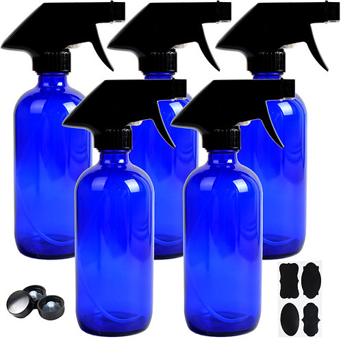 Youngever 5 Pack 8oz Empty Blue Glass Spray Bottles