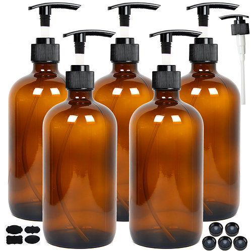 Youngever 5 Pack Empty Amber Glass Pump Bottles, 8 Ounce Lotion Pump Bottles