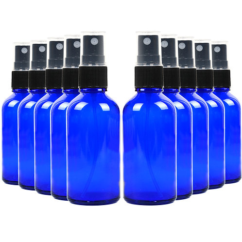 Youngever 16 Pack Empty Blue Glass Spray Bottles, 2 Ounce Refillable Container