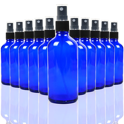Youngever 10 Pack 4oz Empty Blue Glass Spray Bottles
