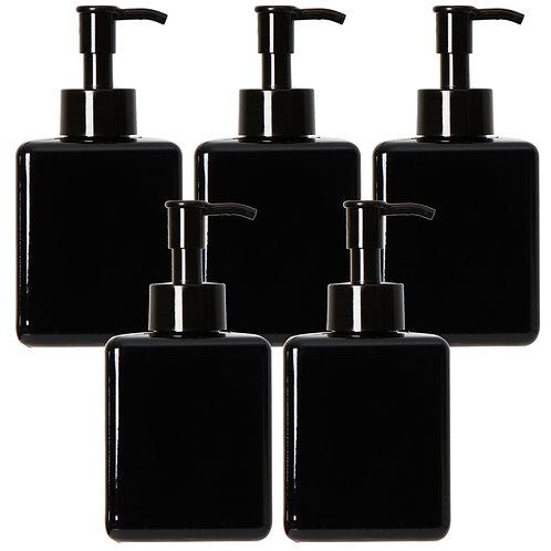 Youngever 5 Pack Black Plastic Square Pump Bottles 12 Ounce, Refillable Bottles
