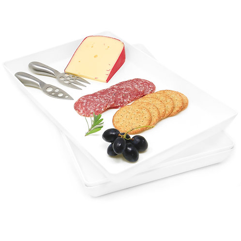 Youngever 3 Pack Plastic Serving Trays, Serving Platter for Parties, Acrylic
