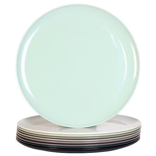 Youngever 10 Inch Plastic Plates, Dinner Plates, Microwave Safe, Urban Color