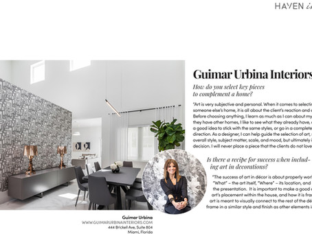 "Guimar Urbina Interiors feature in Haven Magazine "" The Basel & Miami Art Week 2018 edition"