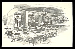 Vintage postcard with artwork showing the iron sign which hung in the Rathskeller Restaurant of the Lennox Hotel.
