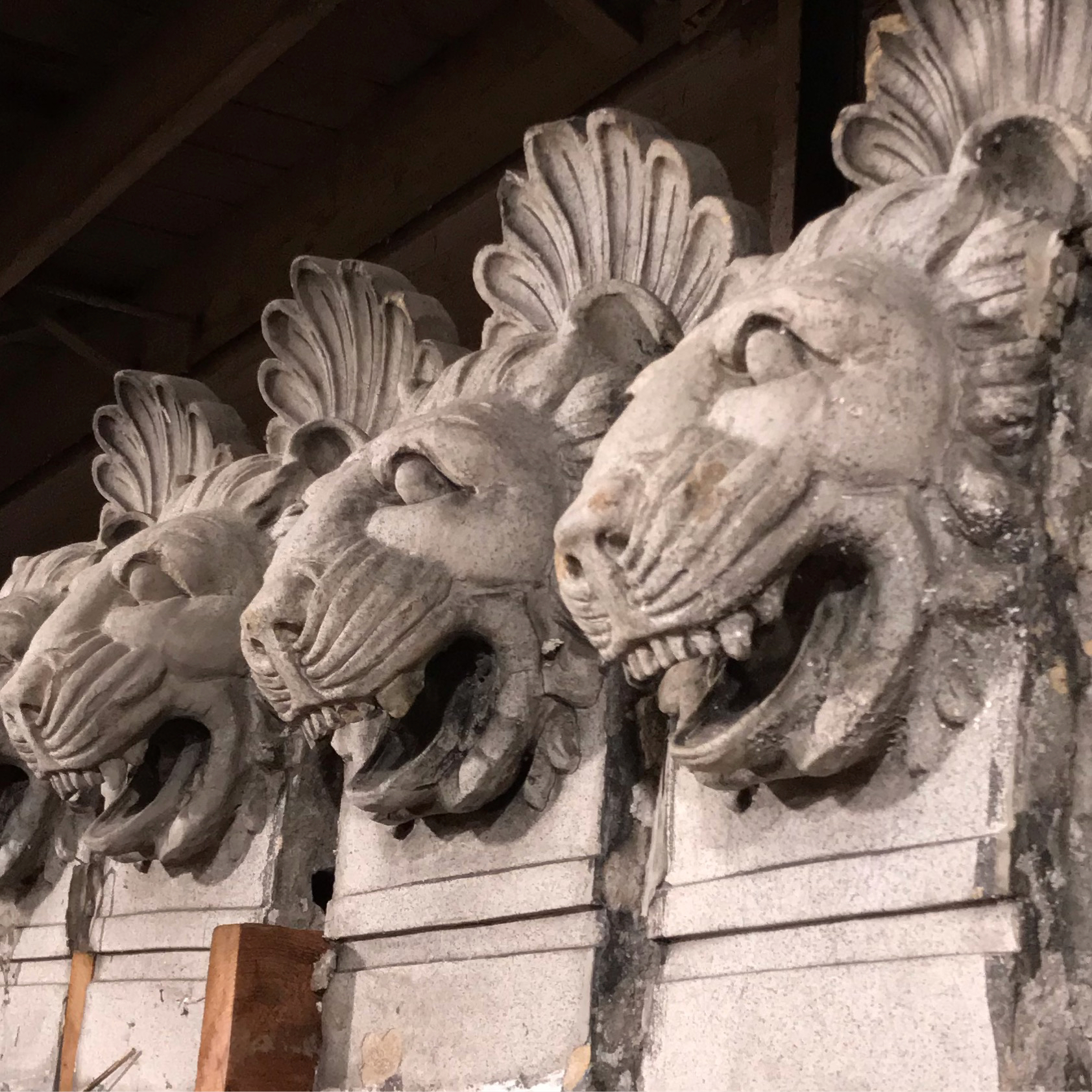 The lion heads with open m0uth's from the Marquette Annex Building in St. Louis MO.