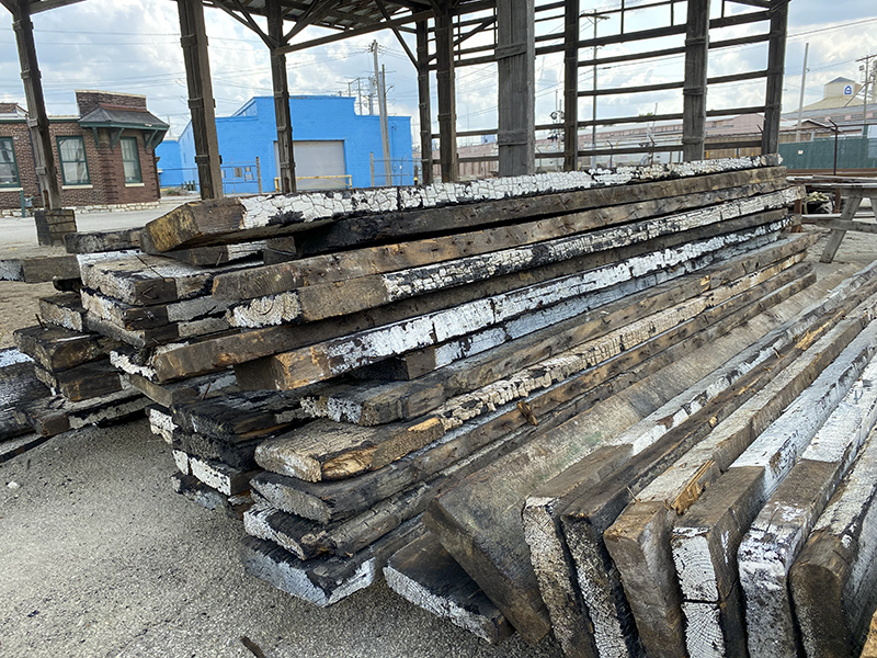 Reclaimed burnt lumber from the Servco Building in St. Louis MO.