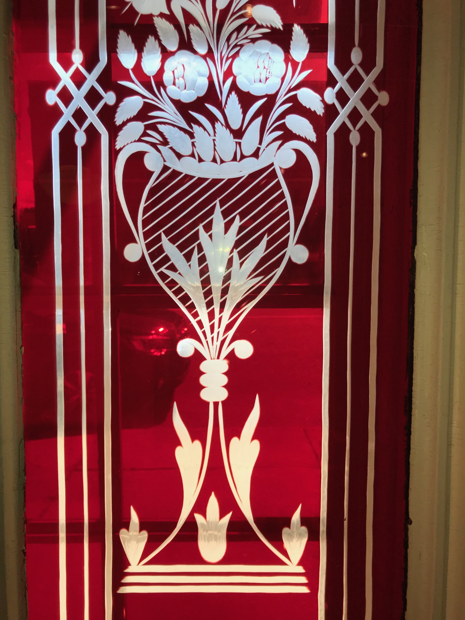 Detail of Reclaimed 2nd Empire Red Flash Glass Doors.