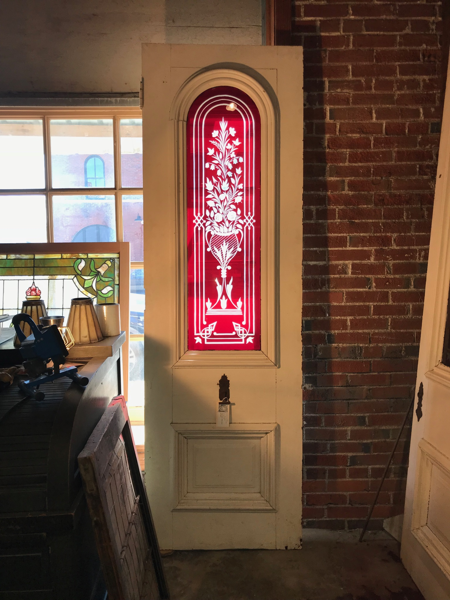Reclaimed 2nd Empire Red Flash Glass Doors.