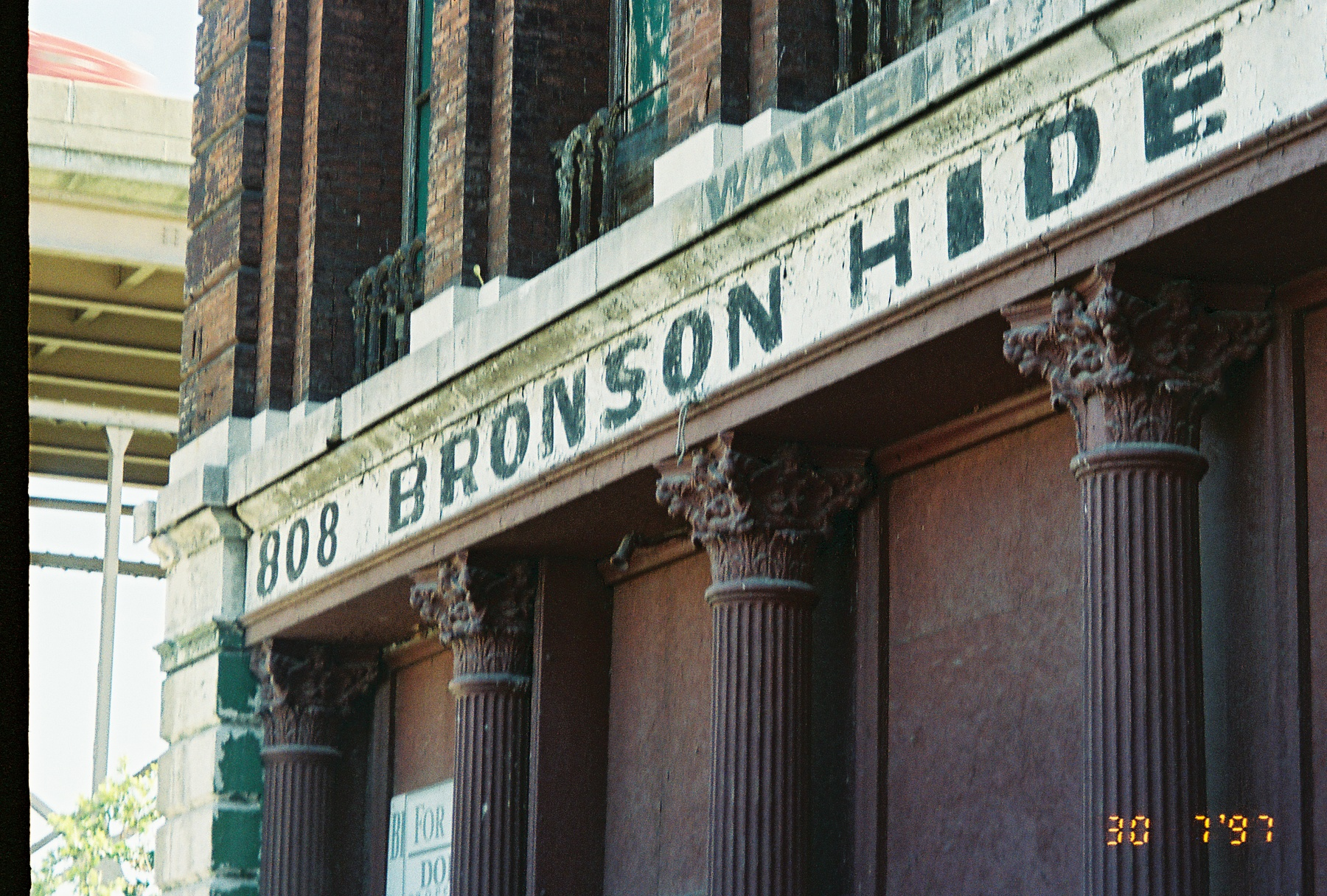 Iron Store front: Bronson Hide Building that once stood at 806 & 808 N. 1st. Street in St. Louis MO.