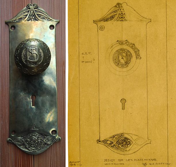 Original drawing by Louis Sullivan of the knob and plate.