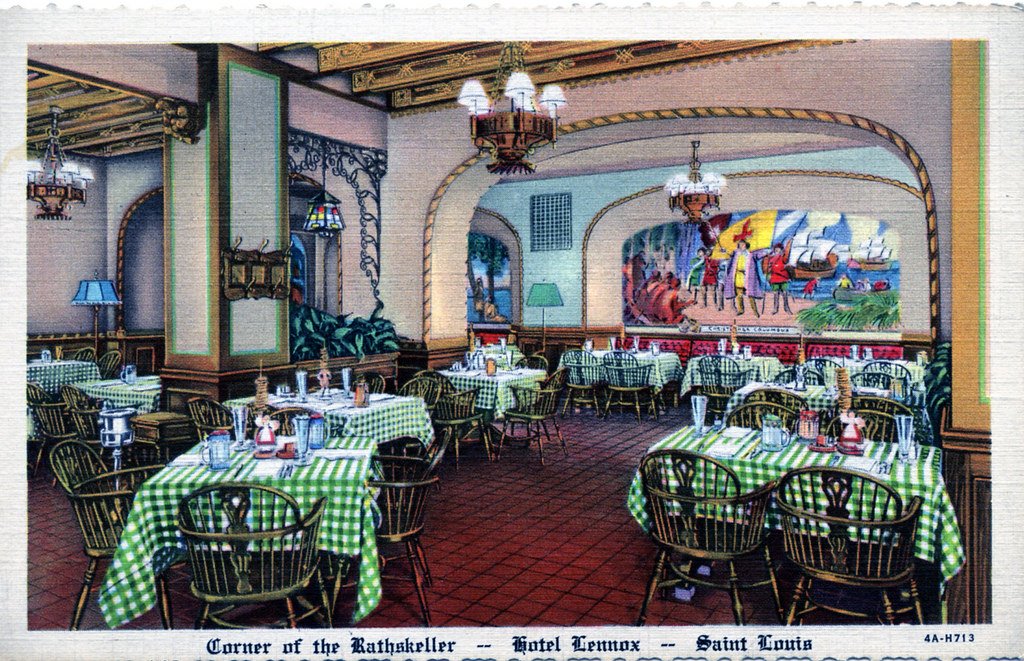 The Rathskeller Restaurant went through many transformations, this one shows the arch, minus the iron signs.