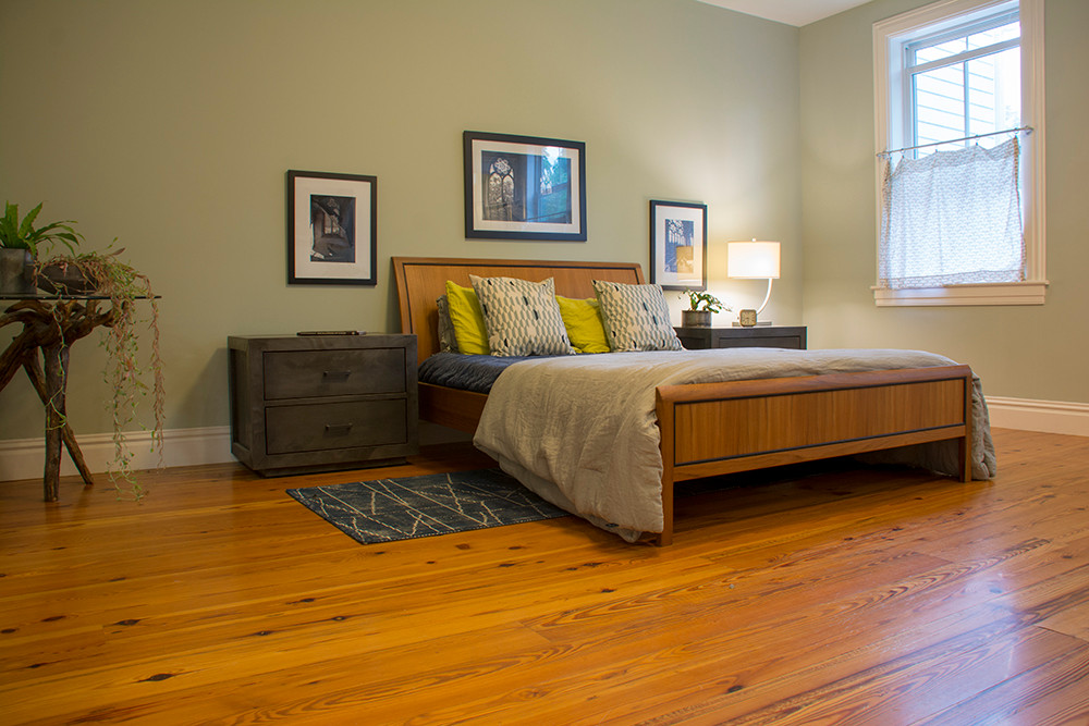 Reclaimed yellow pine floors.