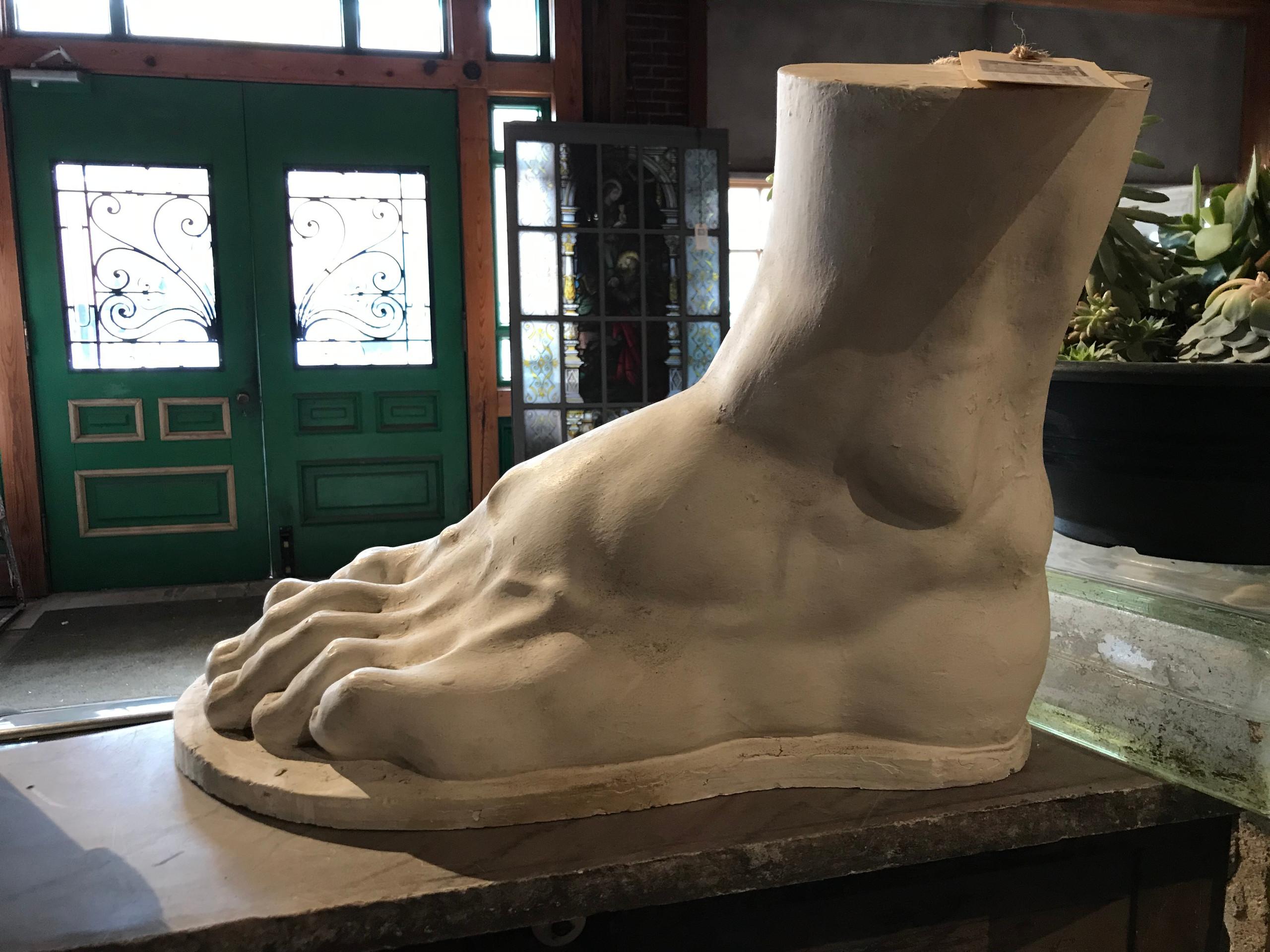 Replica of David's foot, by Bob Cassily.