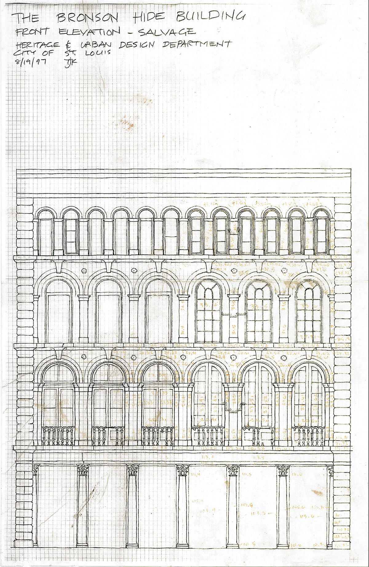 Bronson Hide: Iron Store Front, drawing of front elevation.