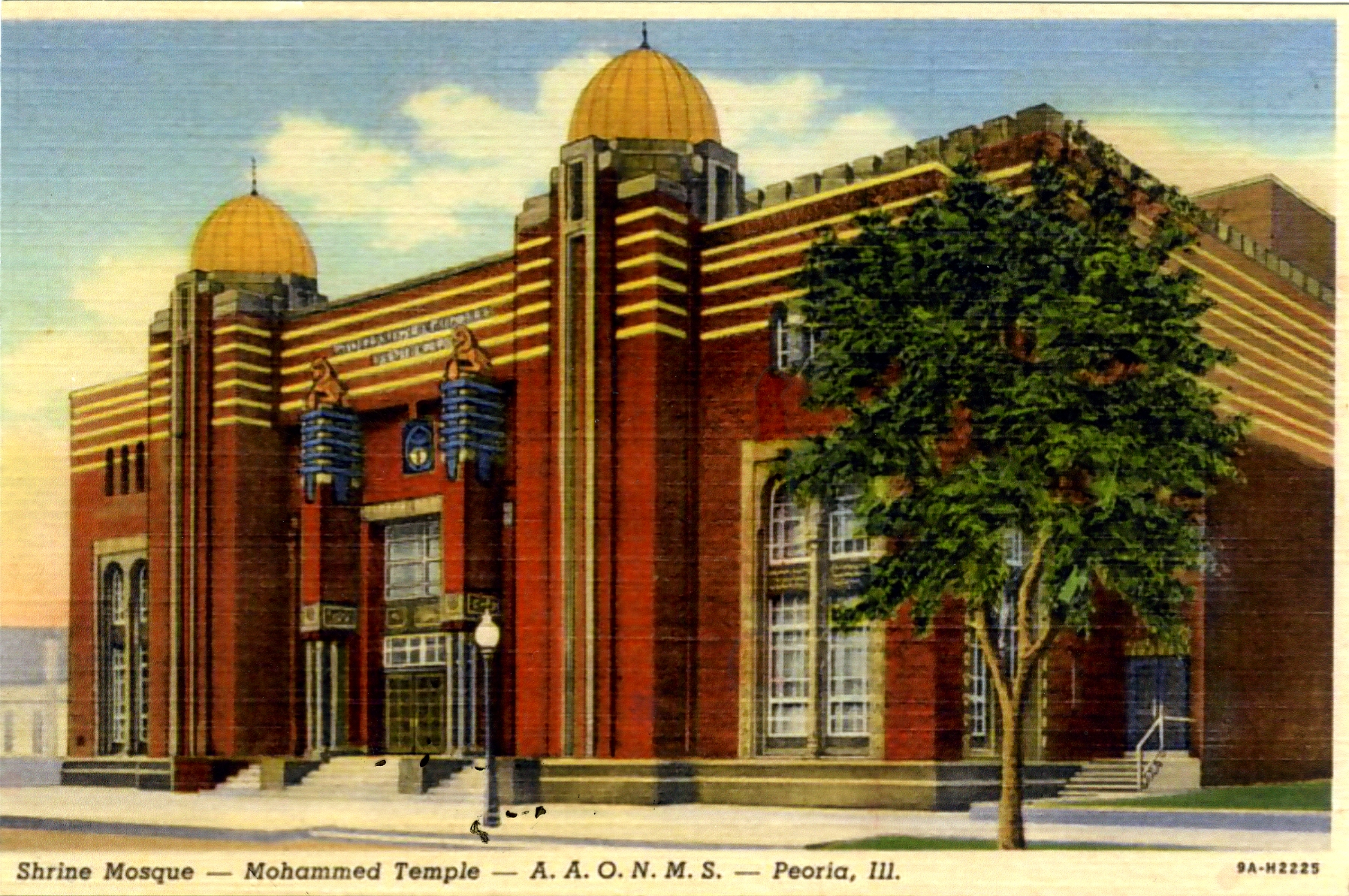 Color postcard of the Shrine Mosque-Mohammed Temple in Peoria Ill.