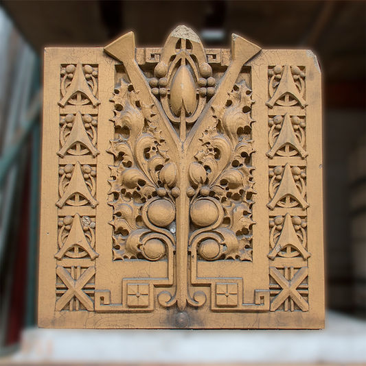 Cast terracotta depicting an organic motif designed by George Grant Elmslie